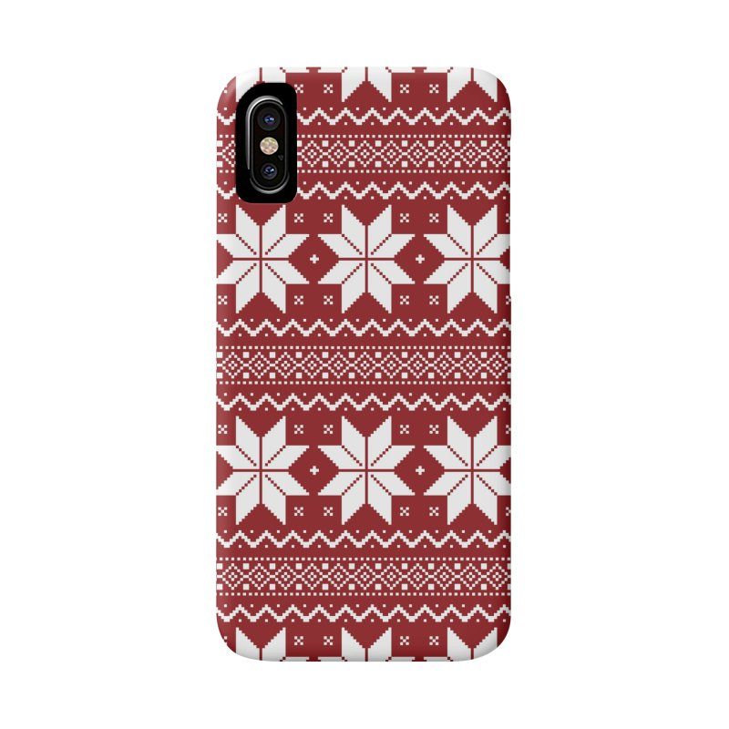 Cross Stitch Snowflakes - Classic Red Accessories Phone Case by prettyprismatic's Artist Shop