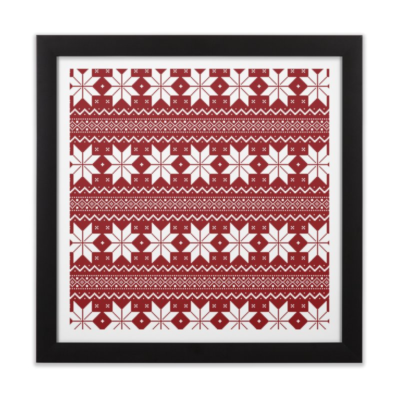 Cross Stitch Snowflakes - Classic Red Home Framed Fine Art Print by prettyprismatic's Artist Shop