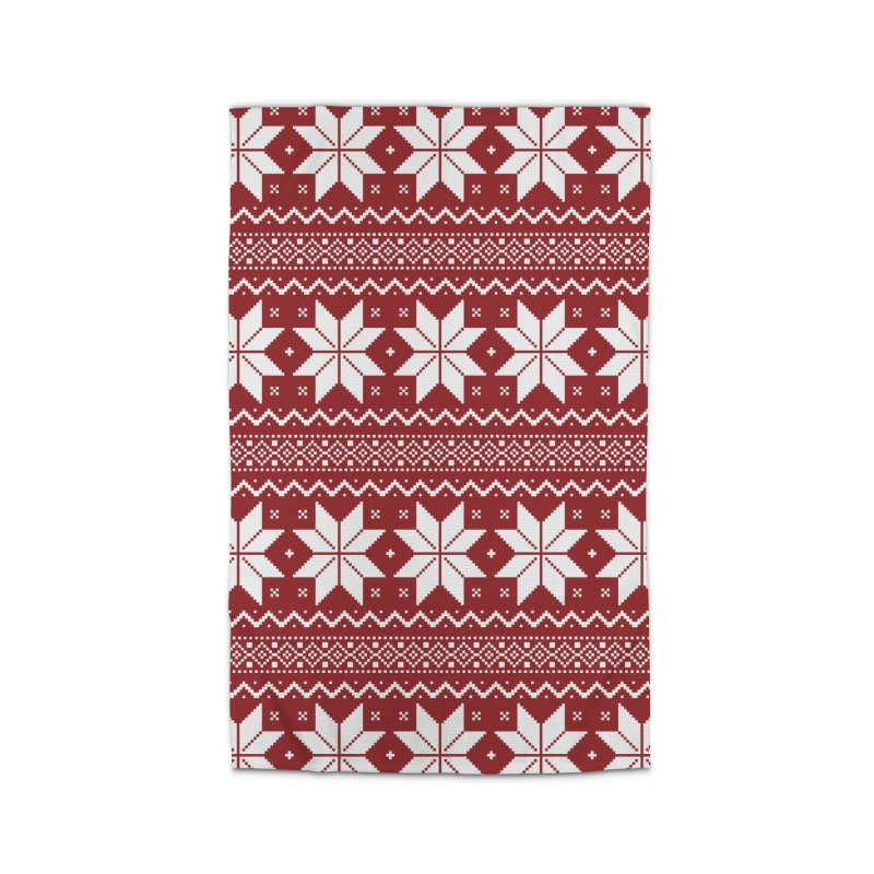 Cross Stitch Snowflakes - Classic Red Home Rug by prettyprismatic's Artist Shop