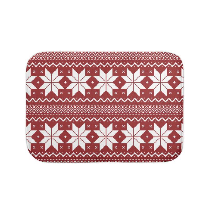 Cross Stitch Snowflakes - Classic Red Home Bath Mat by prettyprismatic's Artist Shop
