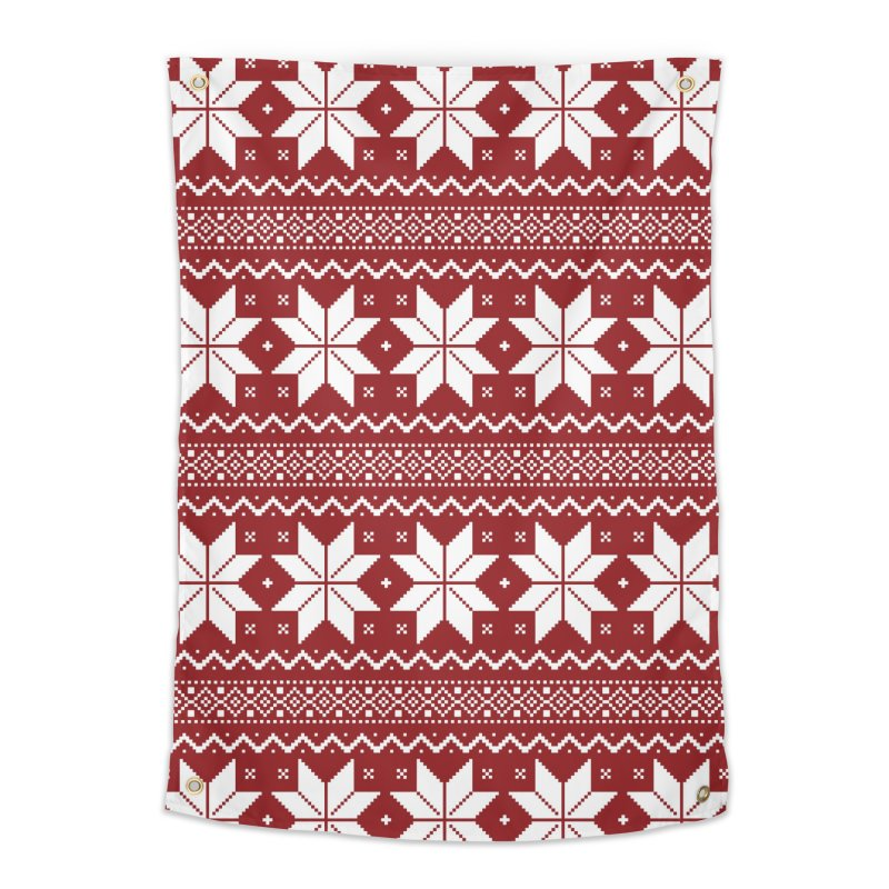 Cross Stitch Snowflakes - Classic Red Home Tapestry by prettyprismatic's Artist Shop