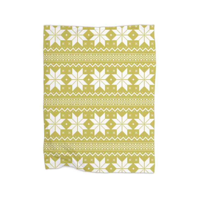 Cross Stitch Snowflakes - Chartreuse Home Blanket by prettyprismatic's Artist Shop
