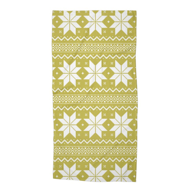 Cross Stitch Snowflakes - Chartreuse Accessories Beach Towel by prettyprismatic's Artist Shop