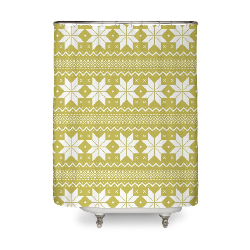 Cross Stitch Snowflakes - Chartreuse Home Shower Curtain by prettyprismatic's Artist Shop
