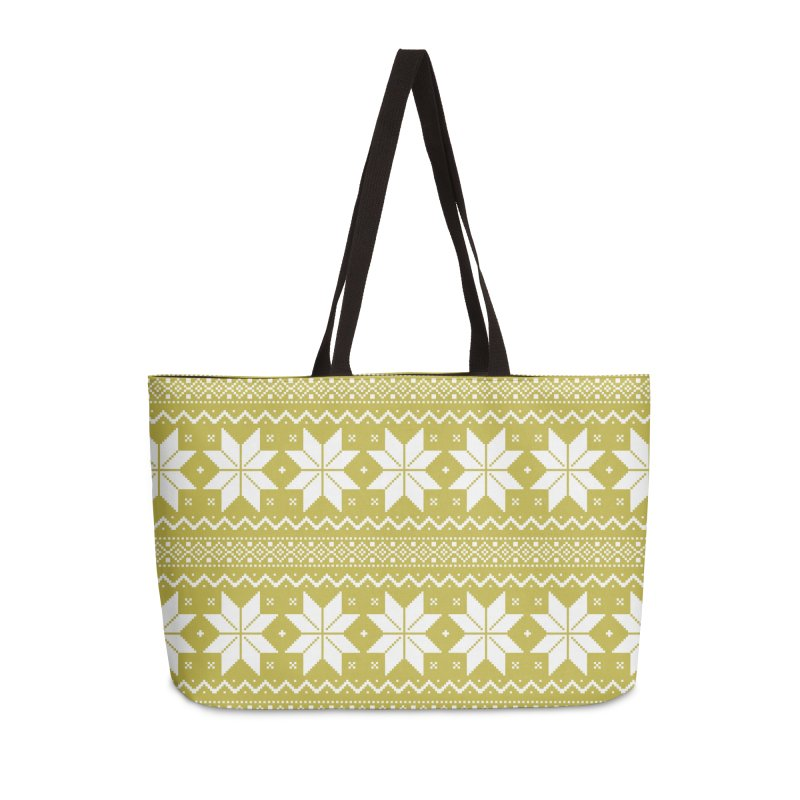 Cross Stitch Snowflakes - Chartreuse Accessories Weekender Bag Bag by prettyprismatic's Artist Shop