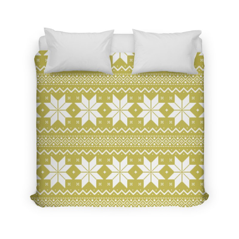 Cross Stitch Snowflakes - Chartreuse Home Duvet by prettyprismatic's Artist Shop