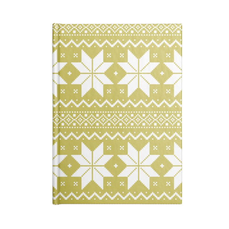 Cross Stitch Snowflakes - Chartreuse Accessories Blank Journal Notebook by prettyprismatic's Artist Shop