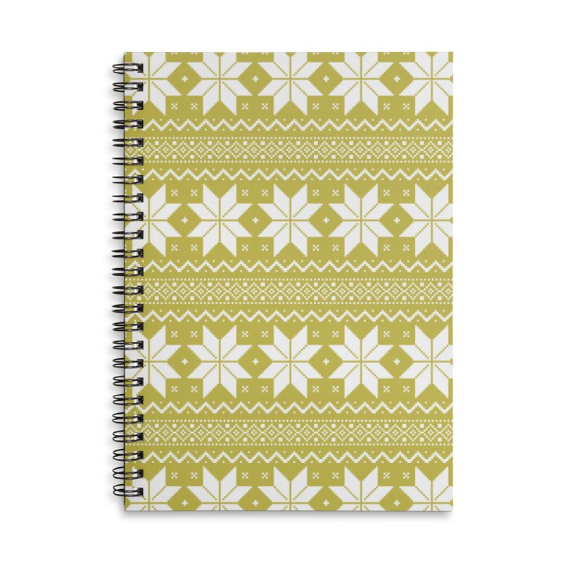 Cross Stitch Snowflakes - Chartreuse Accessories Lined Spiral Notebook by prettyprismatic's Artist Shop