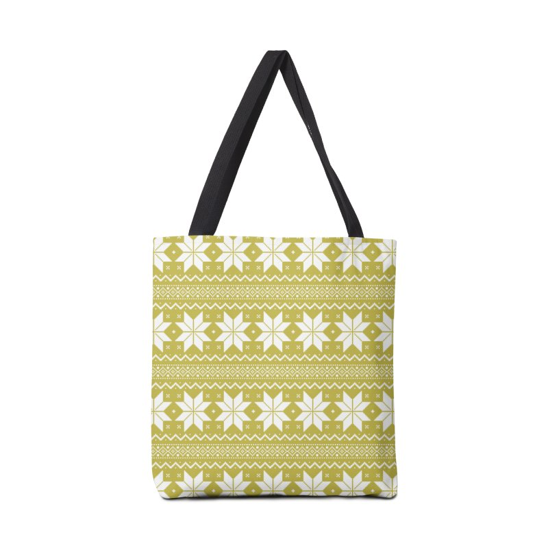 Cross Stitch Snowflakes - Chartreuse Accessories Tote Bag Bag by prettyprismatic's Artist Shop