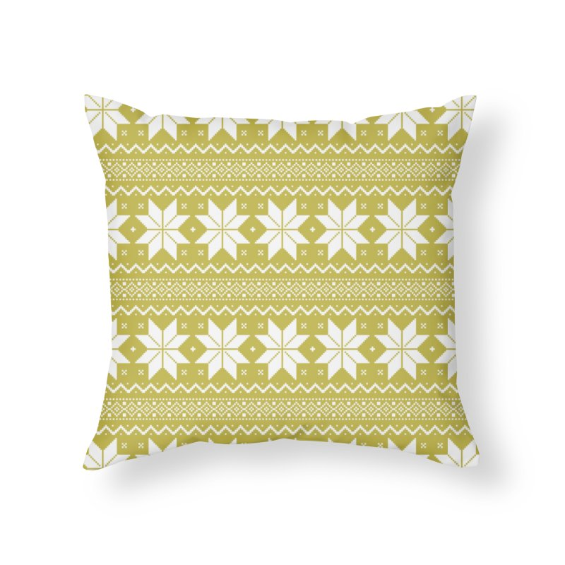 Cross Stitch Snowflakes - Chartreuse Home Throw Pillow by prettyprismatic's Artist Shop