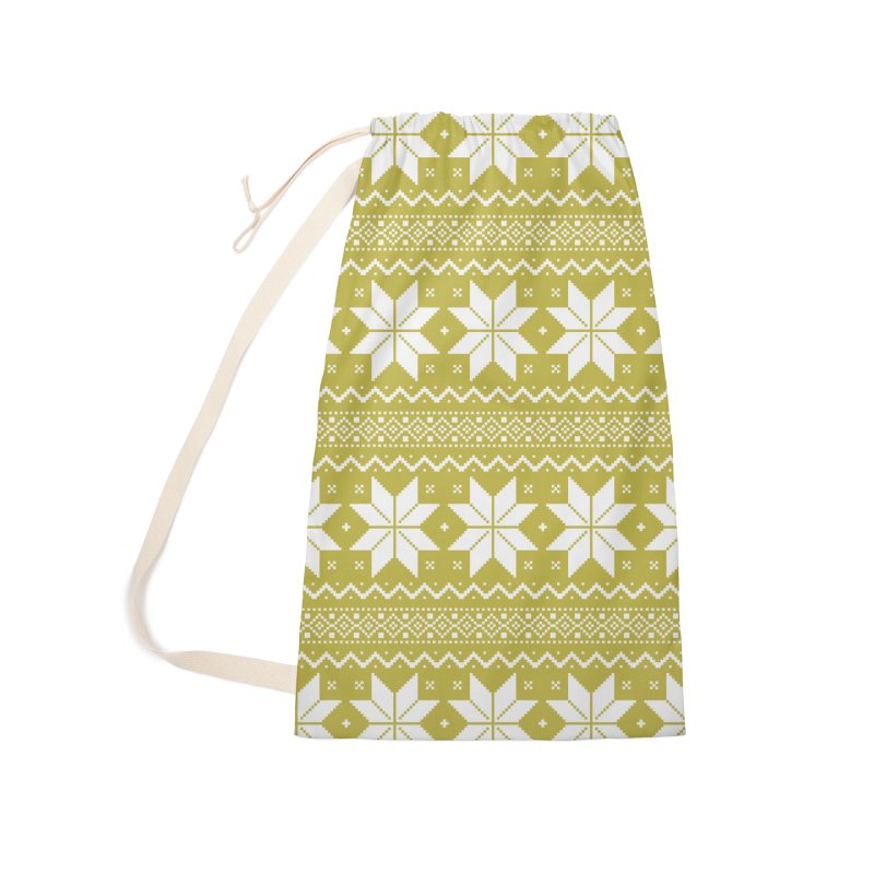 Cross Stitch Snowflakes - Chartreuse Accessories Laundry Bag Bag by prettyprismatic's Artist Shop