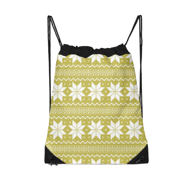 Cross Stitch Snowflakes - Chartreuse Accessories Drawstring Bag Bag by prettyprismatic's Artist Shop