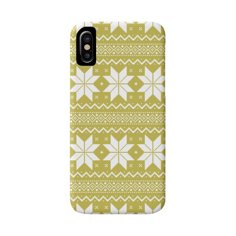 Cross Stitch Snowflakes - Chartreuse Accessories Phone Case by prettyprismatic's Artist Shop