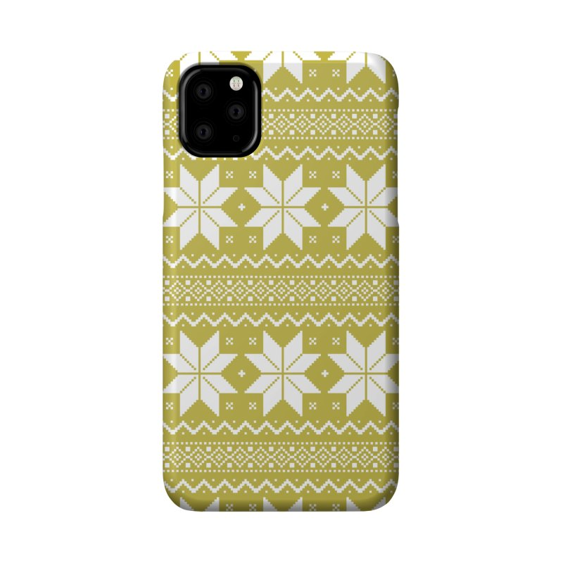 Cross Stitch Snowflakes - Chartreuse Accessories Phone Case by prettyprismatic's Artist Shop