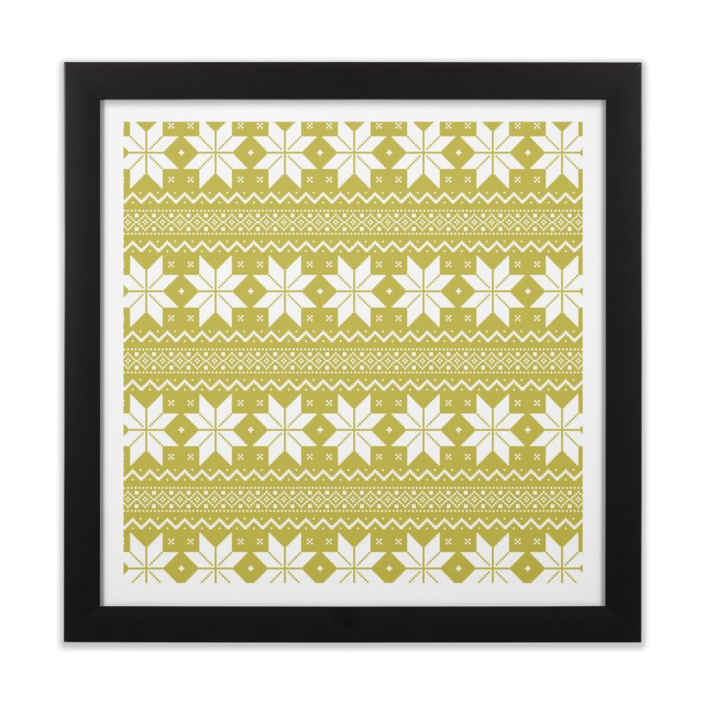 Cross Stitch Snowflakes - Chartreuse Home Framed Fine Art Print by prettyprismatic's Artist Shop