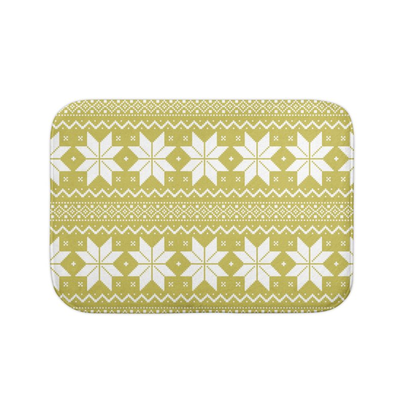 Cross Stitch Snowflakes - Chartreuse Home Bath Mat by prettyprismatic's Artist Shop