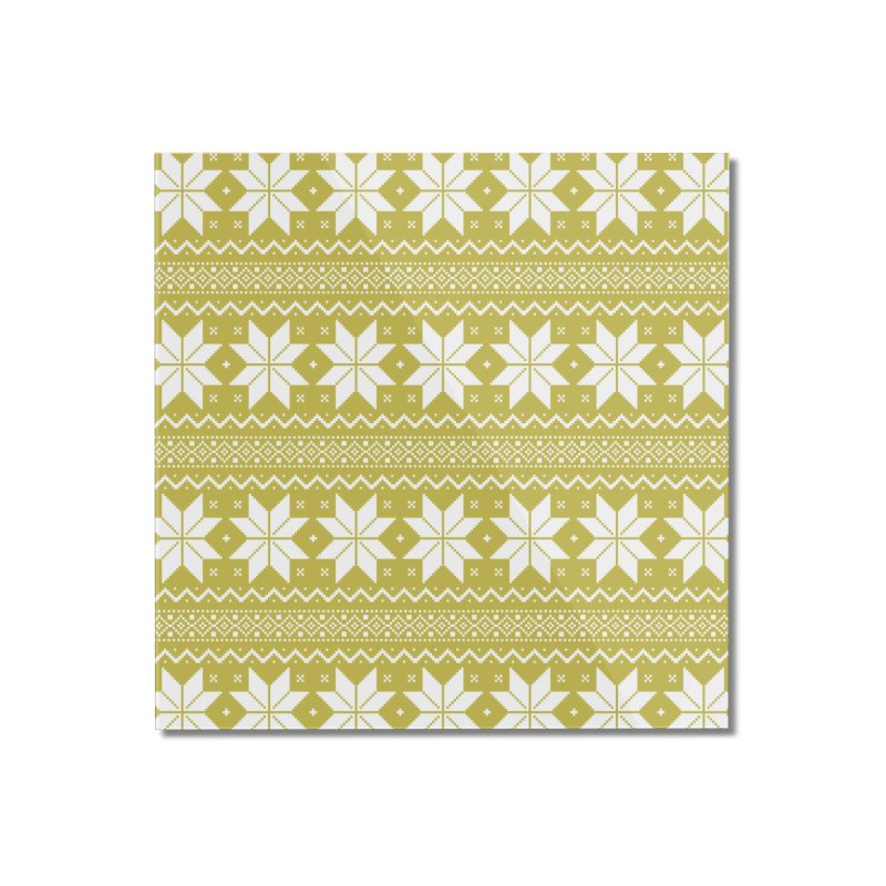 Cross Stitch Snowflakes - Chartreuse Home Mounted Acrylic Print by prettyprismatic's Artist Shop