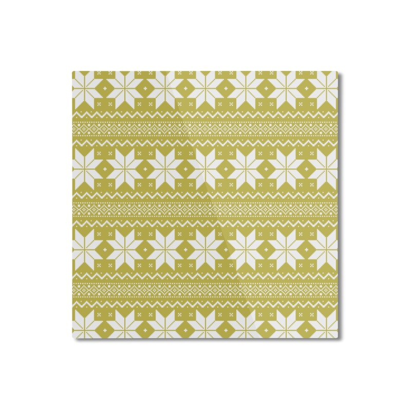 Cross Stitch Snowflakes - Chartreuse Home Mounted Aluminum Print by prettyprismatic's Artist Shop