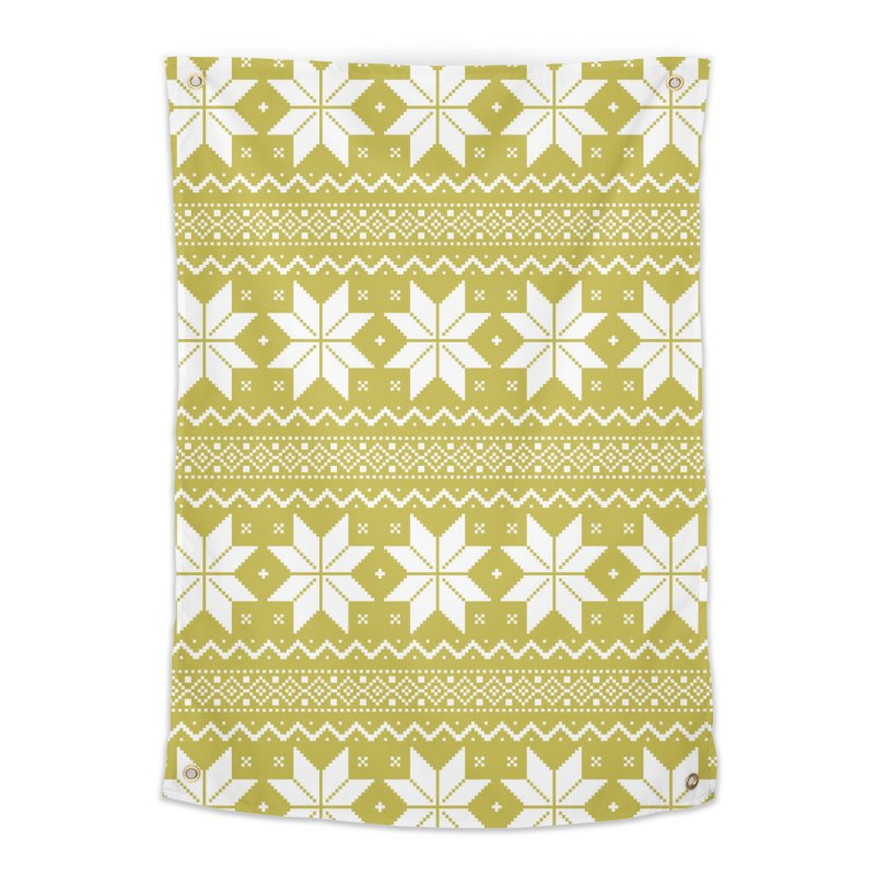 Cross Stitch Snowflakes - Chartreuse Home Tapestry by prettyprismatic's Artist Shop