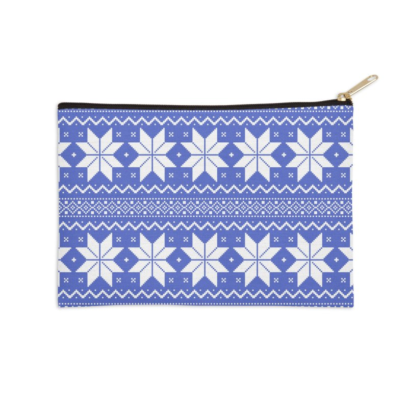 Cross Stitch Snowflakes - Periwinkle Accessories Zip Pouch by prettyprismatic's Artist Shop