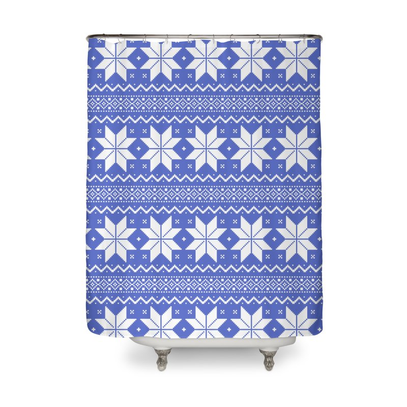 Cross Stitch Snowflakes - Periwinkle Home Shower Curtain by prettyprismatic's Artist Shop