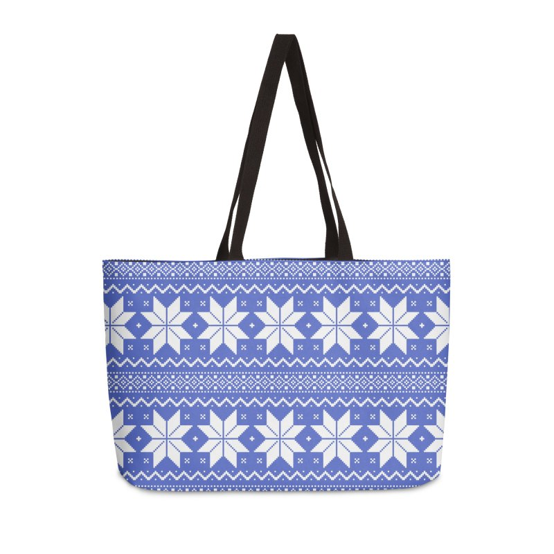 Cross Stitch Snowflakes - Periwinkle Accessories Weekender Bag Bag by prettyprismatic's Artist Shop