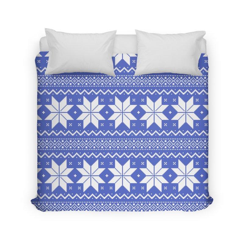 Cross Stitch Snowflakes - Periwinkle Home Duvet by prettyprismatic's Artist Shop