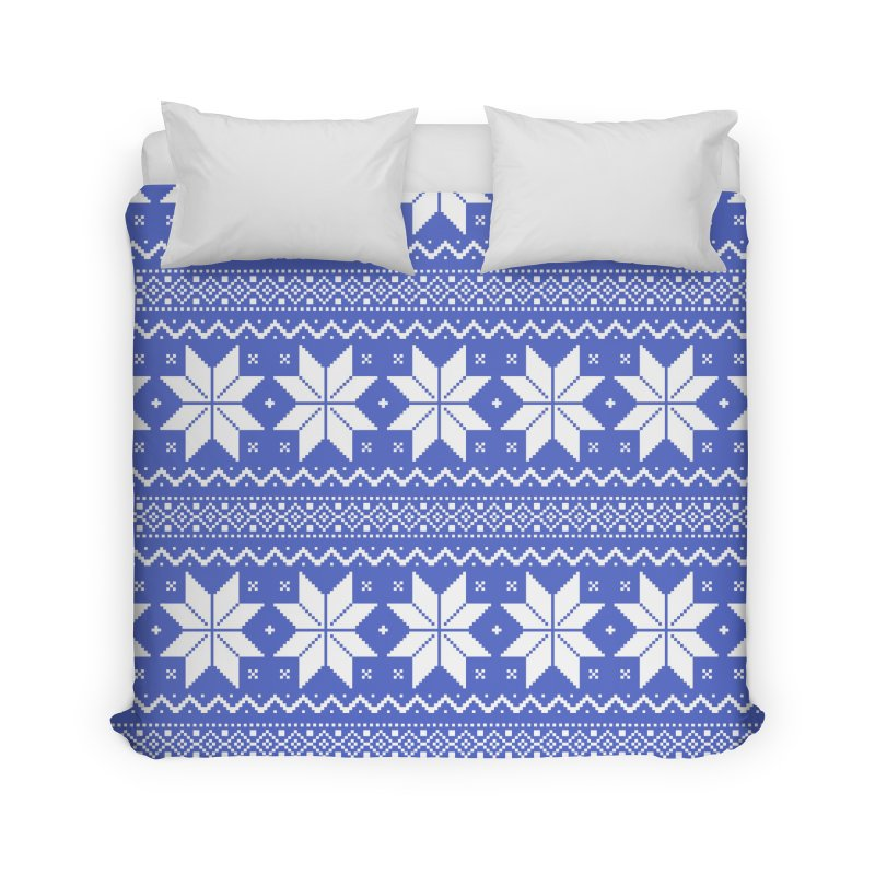 Cross Stitch Snowflakes - Periwinkle Home Duvet by prettyprismatic's Artist Shop