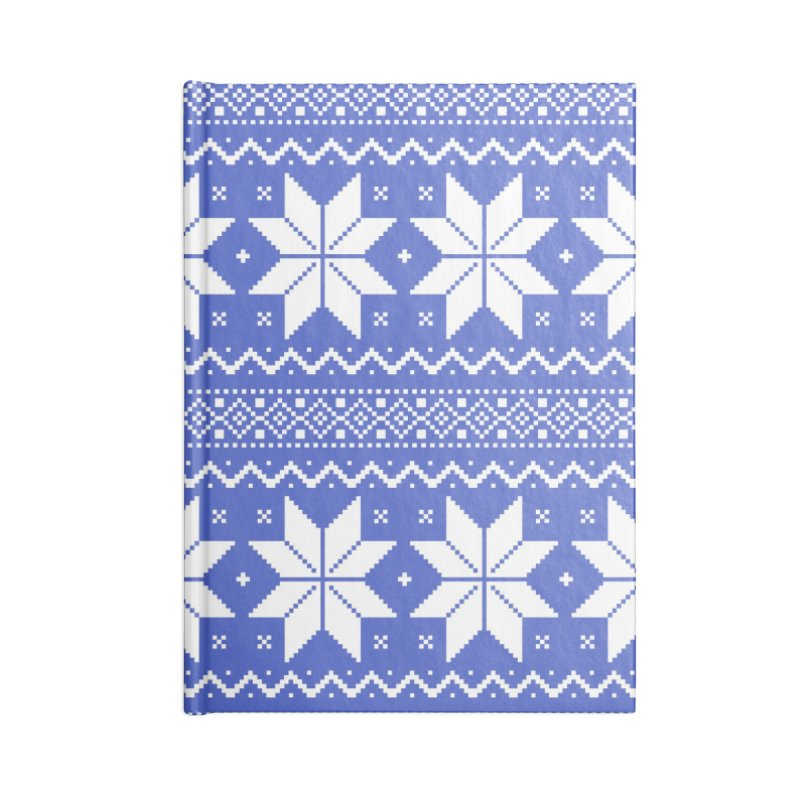 Cross Stitch Snowflakes - Periwinkle Accessories Blank Journal Notebook by prettyprismatic's Artist Shop