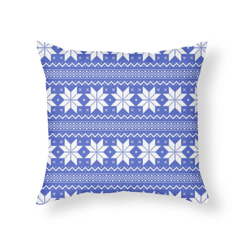 Cross Stitch Snowflakes - Periwinkle Home Throw Pillow by prettyprismatic's Artist Shop