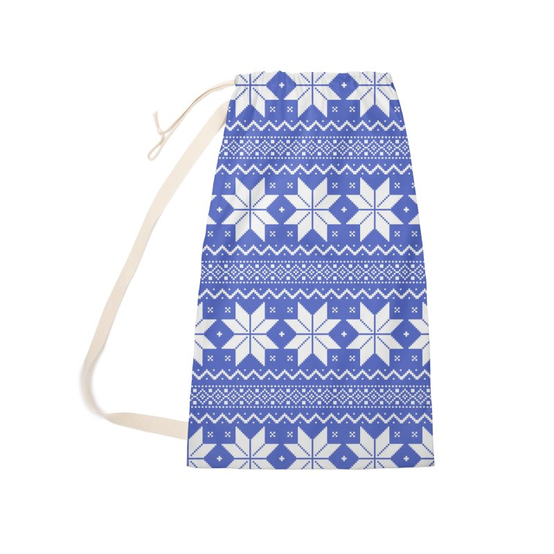 Cross Stitch Snowflakes - Periwinkle Accessories Laundry Bag Bag by prettyprismatic's Artist Shop
