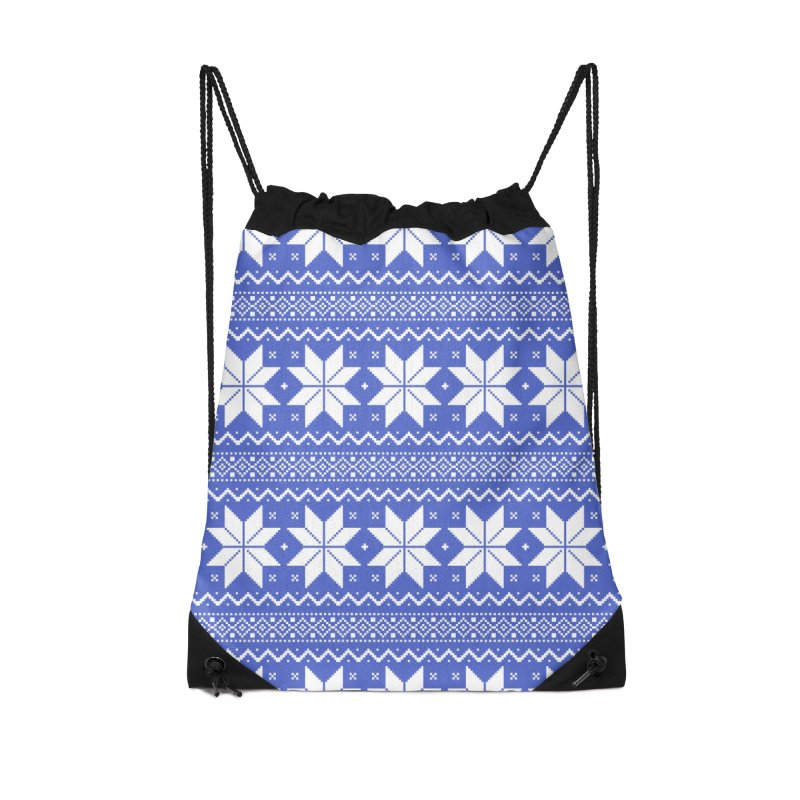 Cross Stitch Snowflakes - Periwinkle Accessories Drawstring Bag Bag by prettyprismatic's Artist Shop
