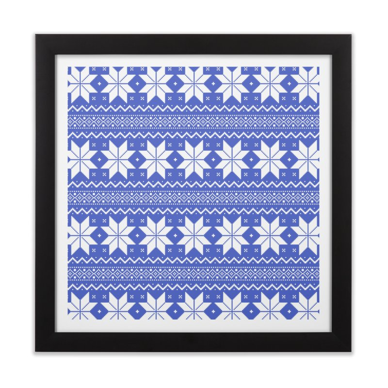 Cross Stitch Snowflakes - Periwinkle Home Framed Fine Art Print by prettyprismatic's Artist Shop