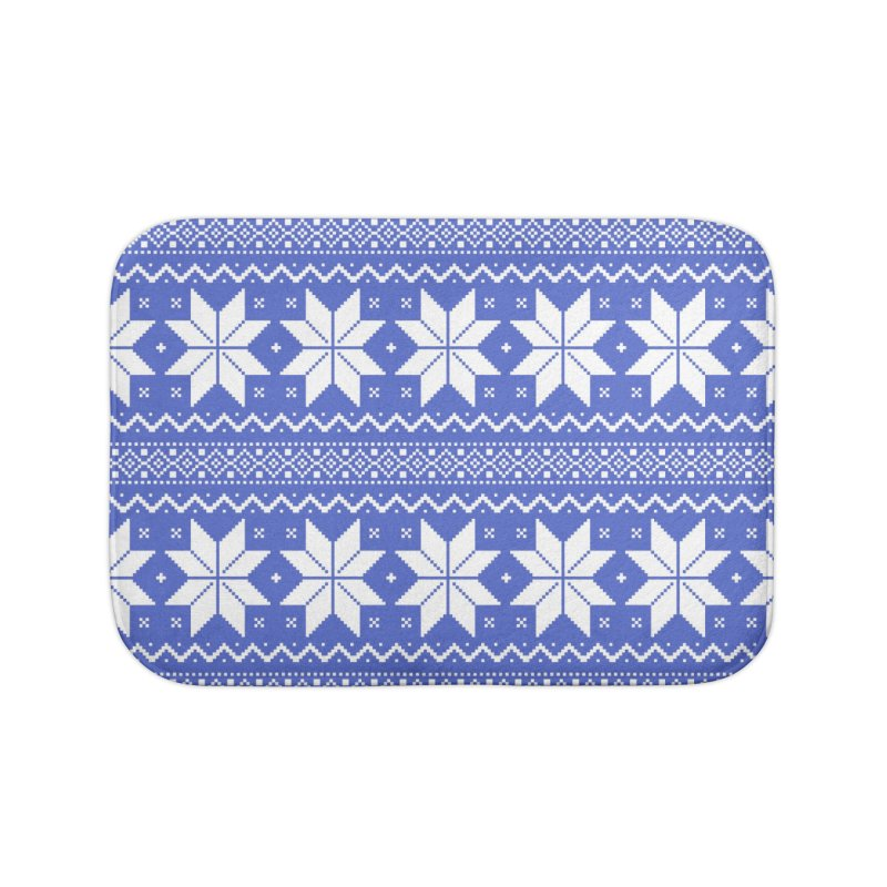 Cross Stitch Snowflakes - Periwinkle Home Bath Mat by prettyprismatic's Artist Shop