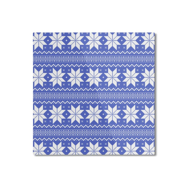 Cross Stitch Snowflakes - Periwinkle Home Mounted Aluminum Print by prettyprismatic's Artist Shop