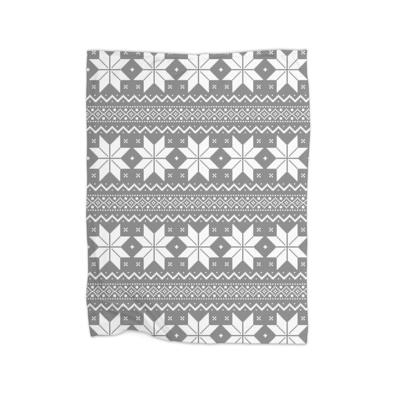 Cross Stitch Snowflakes - Wintery Gray Home Blanket by prettyprismatic's Artist Shop