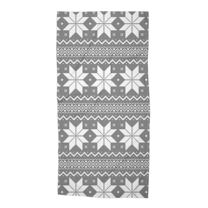 Cross Stitch Snowflakes - Wintery Gray Accessories Beach Towel by prettyprismatic's Artist Shop