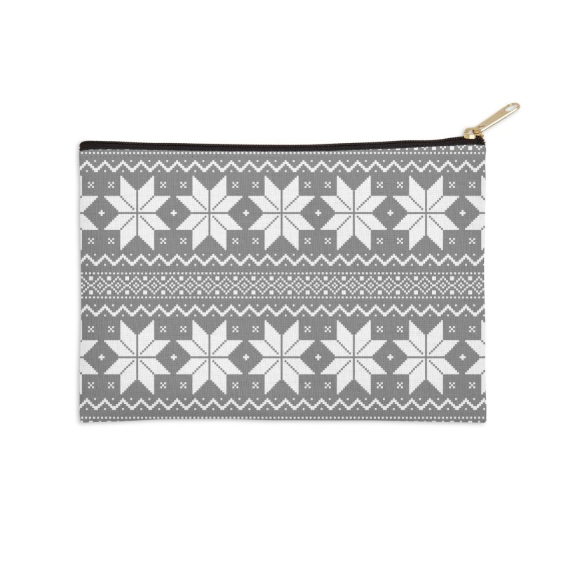 Cross Stitch Snowflakes - Wintery Gray Accessories Zip Pouch by prettyprismatic's Artist Shop