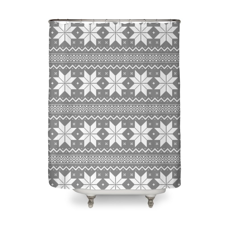 Cross Stitch Snowflakes - Wintery Gray Home Shower Curtain by prettyprismatic's Artist Shop