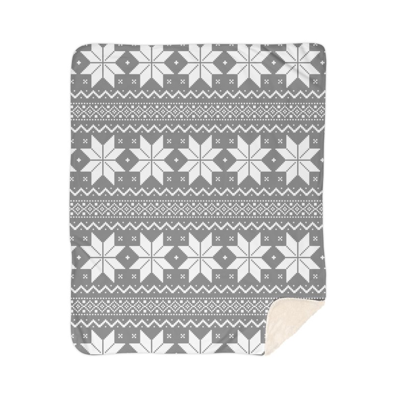Cross Stitch Snowflakes - Wintery Gray Home Sherpa Blanket Blanket by prettyprismatic's Artist Shop