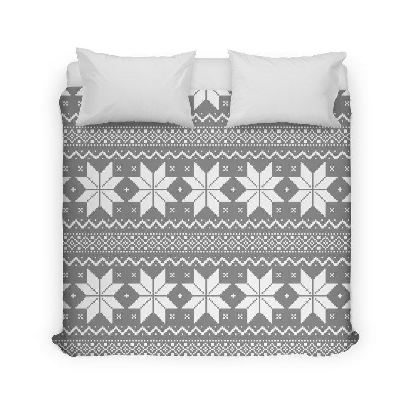 Cross Stitch Snowflakes - Wintery Gray Home Duvet by prettyprismatic's Artist Shop