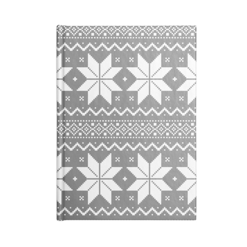 Cross Stitch Snowflakes - Wintery Gray Accessories Blank Journal Notebook by prettyprismatic's Artist Shop