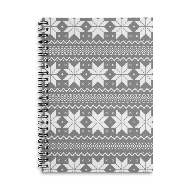 Cross Stitch Snowflakes - Wintery Gray Accessories Lined Spiral Notebook by prettyprismatic's Artist Shop