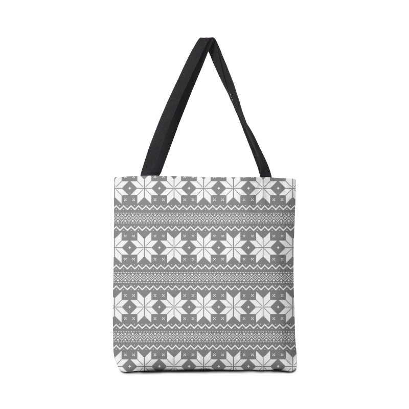 Cross Stitch Snowflakes - Wintery Gray Accessories Tote Bag Bag by prettyprismatic's Artist Shop