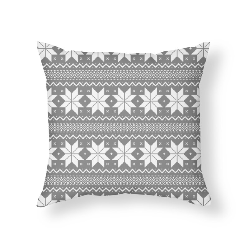Cross Stitch Snowflakes - Wintery Gray Home Throw Pillow by prettyprismatic's Artist Shop