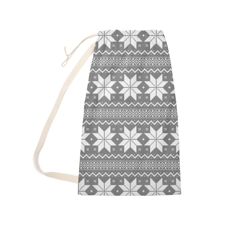 Cross Stitch Snowflakes - Wintery Gray Accessories Laundry Bag Bag by prettyprismatic's Artist Shop