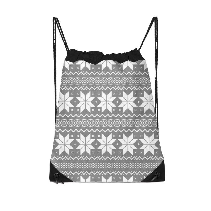 Cross Stitch Snowflakes - Wintery Gray Accessories Drawstring Bag Bag by prettyprismatic's Artist Shop