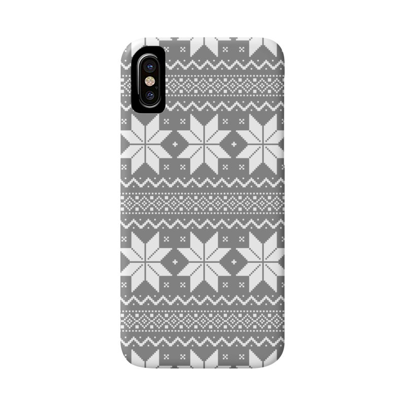 Cross Stitch Snowflakes - Wintery Gray Accessories Phone Case by prettyprismatic's Artist Shop