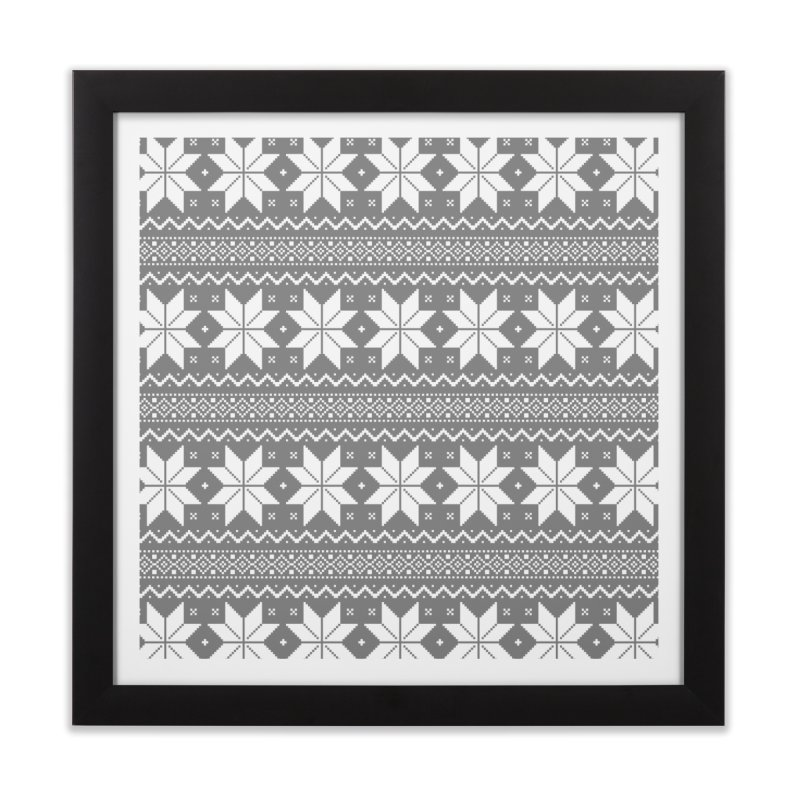 Cross Stitch Snowflakes - Wintery Gray Home Framed Fine Art Print by prettyprismatic's Artist Shop