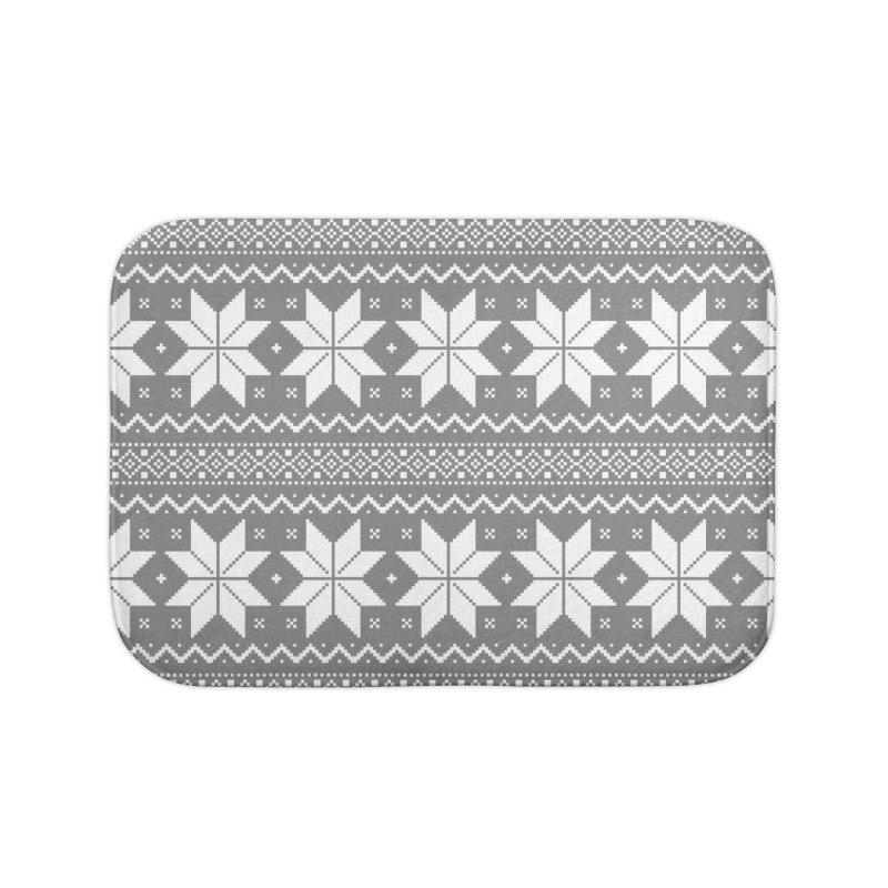Cross Stitch Snowflakes - Wintery Gray Home Bath Mat by prettyprismatic's Artist Shop